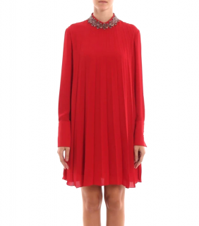 Dondup Red Crepe Dress with Crystal Embellished Collar