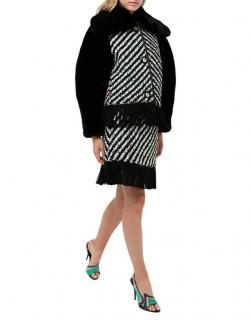 Emilio Pucci Fur Trimmed Runway Tweed Coat