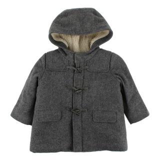 Bonpoint Hooded Grey Wool Coat