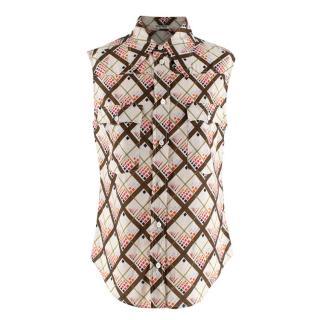 MMiu Miu Cream Geometric Print Sleeveless Shirt