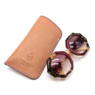 Jacques Marie Mage Red Tortoiseshell Nonagonal Sunglasses