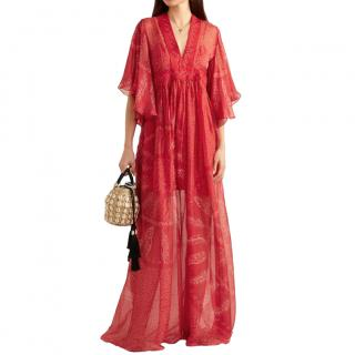 Three Graces London Red Banana Leaf Print Chiffon Kaftan