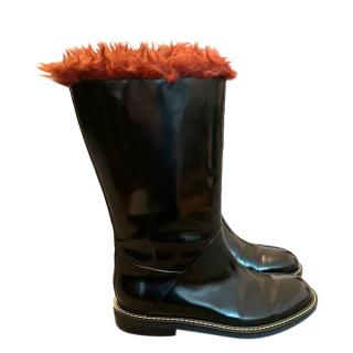 Marni Black Rubber Faux Shearling Trimmed Boots