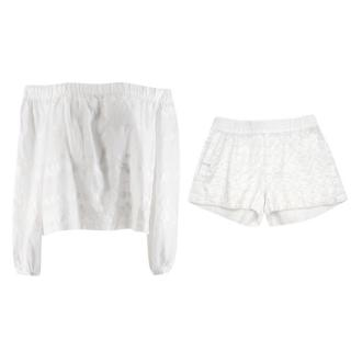 Vita Kin White Embroidered Bardot Top and Short Set