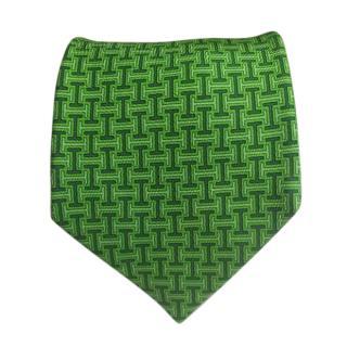 Hermes Green Labrinth Logo Silk Printed Tie