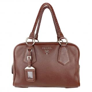 Prada Brown Leather Tote Bag