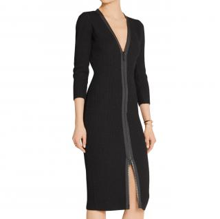 Tom Ford Black Waffle Knit Longline Zip Front Dress