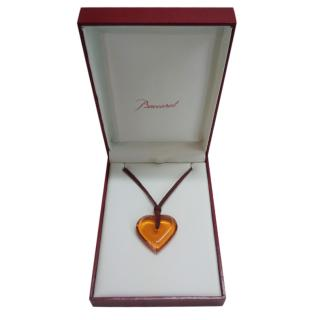 Baccarat Amber Heart Pendant Necklace