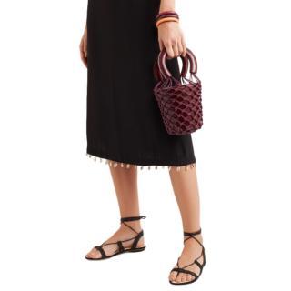 Staud Moreau mini leather and macram� bucket bag