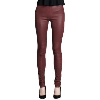 Theory Burgundy Leather Leggings