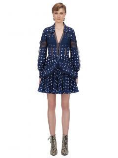 Self Portrait Blue & White Sail Print Lace Trim Mini Dress