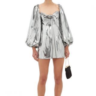 Attico Balloon-sleeve lam� mini dress