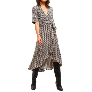 Ganni Gingham Ruffled Wrap Dress