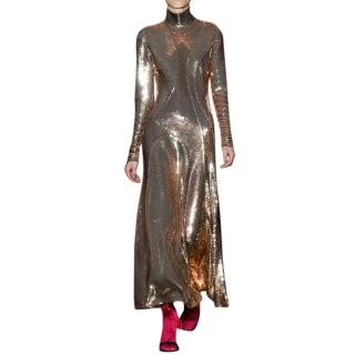 Emilio Pucci Embellished Gold Cut-Out Runway Midi Gown