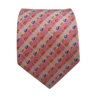 Hermes Pink Silk Printed Droplet Tie