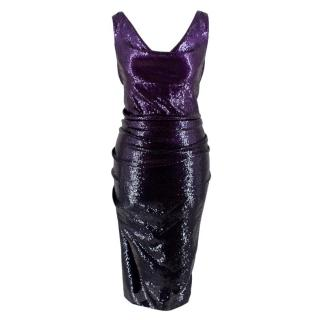 Donna Karan Purple Sequin Cowl Neck Midi Dress