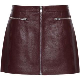 Alexander Wang Burgundy ZIp Front Mini Skirt