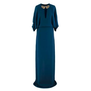 Roberto Cavalli Blue Silk Dragon Embellished Gown
