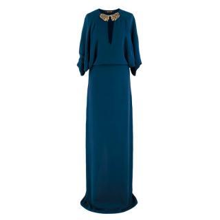 Roberto Cavalli Blue Silk Dragon Embellished Gown