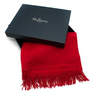 Mulberry Red Embroidered Small Solid Lambswool Scarf