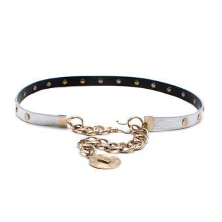 Versus Versace Metallic Leather Medallion Chain Belt