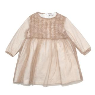 Il Gufo Girls Layered Mesh Glitter Ruffled Dress