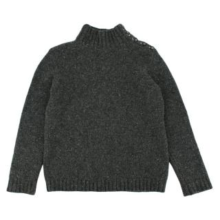 Bonpoint Pure Cashmere Speckle Knit Grey Roll Neck Jumper