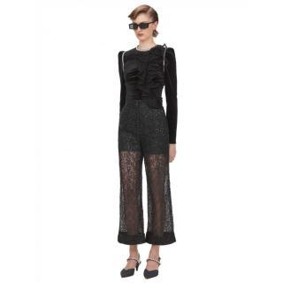 Self Portrait Black Sequin Circle Lace Trousers