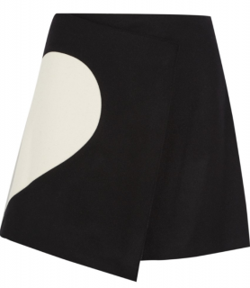 MSGM Two-Tone Wool Blend Wrap Skirt