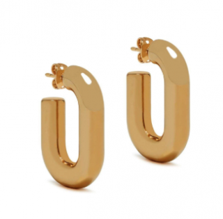 Mulberry Square Links Hoop Earrings in Gold Brass