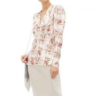 Paco Rabanne Floral-Print Crystal Button Blouse - Runway Collection