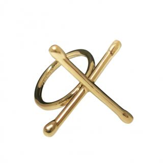 Noritamy Gold Tone X Joints Ring