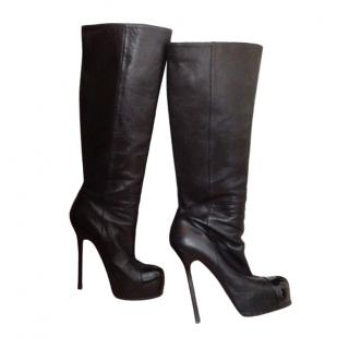 Yves Saint Laurent Black Leather Knee Boots with Patent Platform Toe