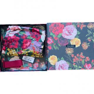 Dolce & Gabbana Rose Print Cashmere Blend Wrap Shawl