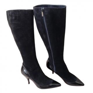 Gina Black Suede & Patent Leather Kitten Heel Boots
