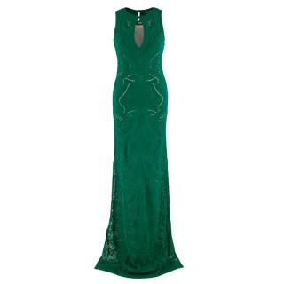Roberto Cavalli Green Knit Lace Sleeveless Gown