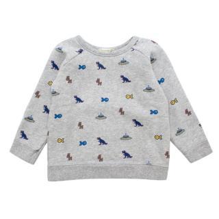 Bonpoint Light Grey Cotton Multi Pattern Sweatshirt