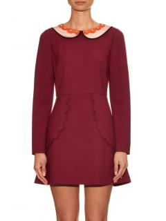 REDValentino Burgundy Jersey Dress with Peter Pan Collar