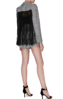 Self Portrait Black & White Check Lace Blazer