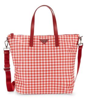 Prada Blithe Gingham Nylon Tote Bag