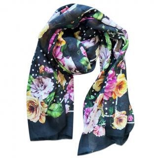 Dolce & Gabbana cashmere blend black floral print wrap scarf