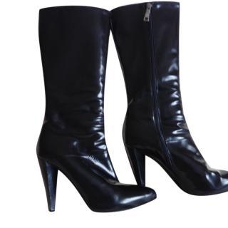Prada Black Patent Tall Boots