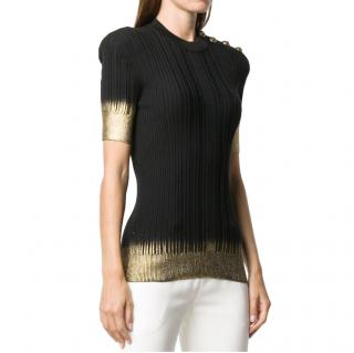 Balmain Black & Gold Dip-Dye Knit Top