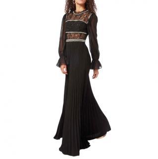 Self Portrait Sequin Circle Lace & Chiffon Sleeve Maxi Dress