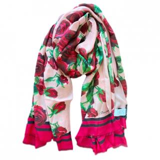 Dolce & Gabbana Red/Pink Rose Print Cashmere Blend Wrap Shawl
