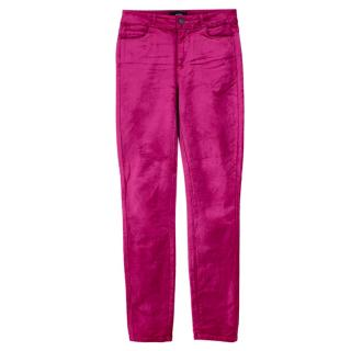 Paige Hot Pink Velvet Hoxton High Rise Skinny Trousers