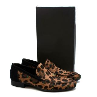 Roberto Botticelli Leopard Print Ponyhair Loafers