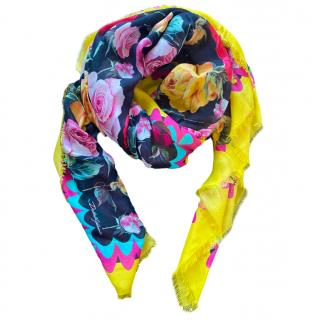 Dolce & Gabbana Multicolored Cashmere Blend Floral Print Wrap Shawl