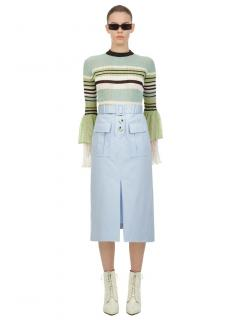 Self Portrait Mint Multi Stripe Fine Knit Top