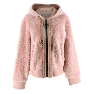 Coach Baby Pink Shearling Leather Zipped Jacket